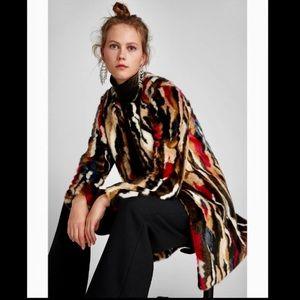 Zara Multi Colored Faux Fur Coat